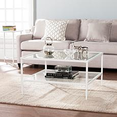 Cortada Square Metal/Glass Open-Shelf Cocktail Table - White