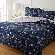 Cottage Collection 100% Cotton Stitched 3-pc Quilt Set - Indigo Floral