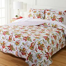 Cottage Collection 100% Cotton Stitched 3-pc Quilt Set - Jacobean