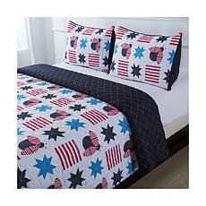 Country Living Home Collection Red, White & Buzz Americana Quilt Set