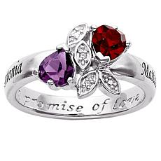Couples Crystal Hearts and Diamond Promise Ring