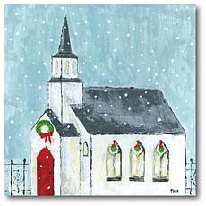 Courtside Market Christmas Night 24x24 Canvas Wall Art