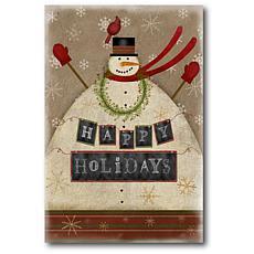 Courtside Market Snowman Happy Holidays 18x26 Canvas Wall Art
