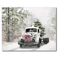 Courtside Market Snowy Christmas Truck 30x40 Canvas Wall Art