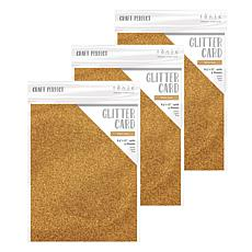 Craft Perfect Glitter Card Welsh Gold 3-Pack