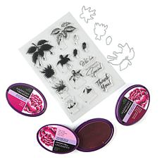 Crafter's Companion Fuchsias Stamp and Die Bundle with Ink