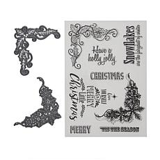 Crafter's Companion Sheena Snowflake & Holly Corner Stamp and Die Set