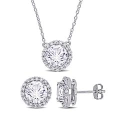 Created White Sapphire Halo Earrings, Pendant and Chain Set