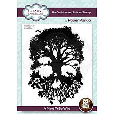 Creative Expressions Paper Panda Mind Wild 4.1x5.6 PreCut Rubber Stamp