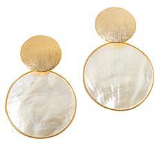 Cristina Sabatini Gold-Tone Mother-of-Pearl Disc Drop Earrings
