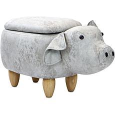 "Critter Sitters 15"" Plush Animal Storage Ottoman - Pig"