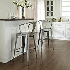 Crosley Amelia Metal Cafe Barstools with Back - Steel