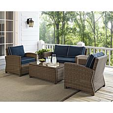 Crosley Bradenton 4pc Outdoor Wicker Seating Set – Navy