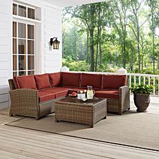 Crosley Bradenton 4pc Outdoor Wicker Sectional-Sangria