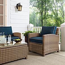 Crosley Bradenton Outdoor Wicker Arm Chair - Navy
