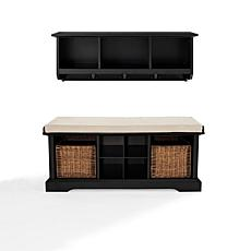 Crosley Brennan Entryway Bench and Shelf Set - Black