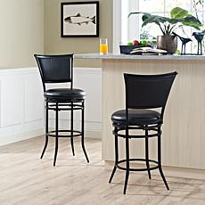 Crosley Furniture Rachel Swivel Bar Stool - Black/Black Cushion
