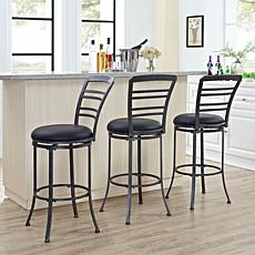 Crosley Furniture Shelburne Swivel Bar Stool - Gray/Black Cushion