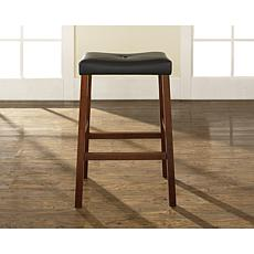 "Crosley Furniture Upholstered Saddle Seat 2pc 29"" Bar Stool Set-Cherry"