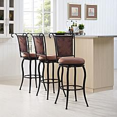 Crosley Furniture Wingate Swivel Bar Stool - Black Gold/Tan Cushion