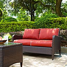 Crosley Kiawah Outdoor Wicker Loveseat - Sangria