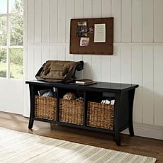 Crosley Wallis Entryway Storage Bench - Black