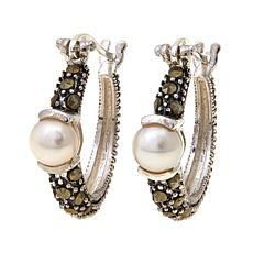 Cultured Freshwater Pearl and Marcasite  Hoops - June