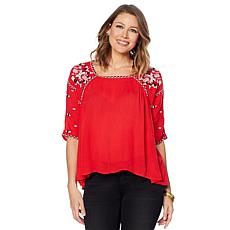 Curations Embroidered Short-Sleeve Blouse
