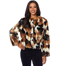 Curations Faux Fur Patchwork Coat