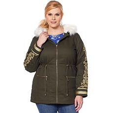 Curations Military Anorak with Faux Fur Trim