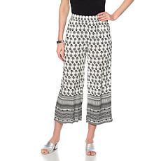 Curations Printed-Border Cropped Palazzo Pant