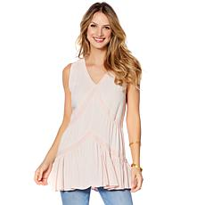 Curations Tiered Lined Tank - Blush