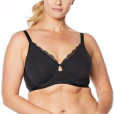 Curvy Couture Cotton Luxe Underwire Bra with Lace Trim