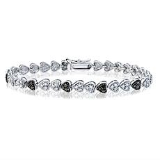 "CZ and Marcasite Sterling Silver ""Heart"" 7-1/8"" Line Bracelet"