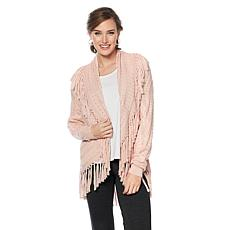 Daisy Fuentes Coccoon Cardigan with Fringe