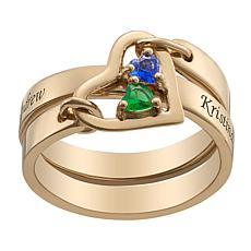 Dangling Heart Double Row Crystal Birthstone Ring