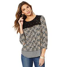 Daniel Rainn Knit Lace Yoke 3/4 Sleeve Top