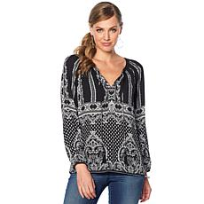 Daniel Rainn Smocked Neck Long Sleeve Blouse