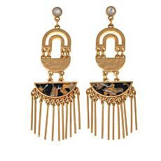 "Danielle Nicole ""Aligned"" Black and White  Fringe Earrings"