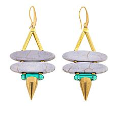 David Aubrey Colored Stone Double Marquise Spike Earrings