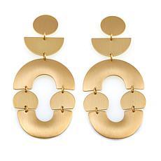 "David Aubrey ""Melanie"" Goldtone Multi Shape Drop Earrings"