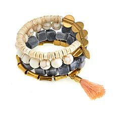 "David Aubrey ""Priscilla"" Marble and White Stone Coiled Tassel Bracelet"