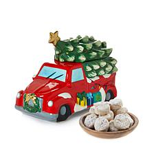 David's Cookies Holiday Cookie Jar with 1 lb. Pecan Meltaways - 11/20