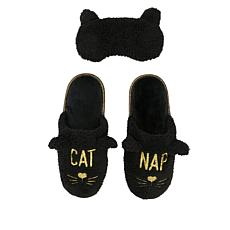 Dearfoams Embroidered Slipper and Eye Mask Set