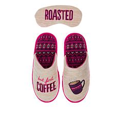 Dearfoams Embroidered Slipper and Sleep Mask Set