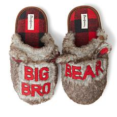 Dearfoams Kid's Furry Big Bro Bear Scuff Slipper