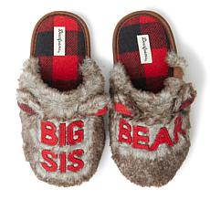 Dearfoams Kid's Furry Big Sis Bear Scuff Slipper