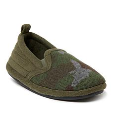 Dearfoams Kid's Skylar Camo and Fleece Closed-Back Slipper