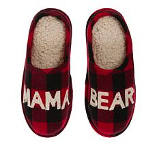 Dearfoams Mama Bear Plaid Slipper