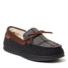Dearfoams Men's Ethan Woven Plaid and Microwool Moccasin Slipper